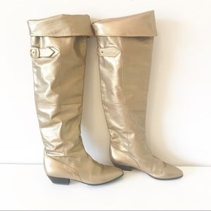 Italian Leather Gold Knee High Boots Size 37.5